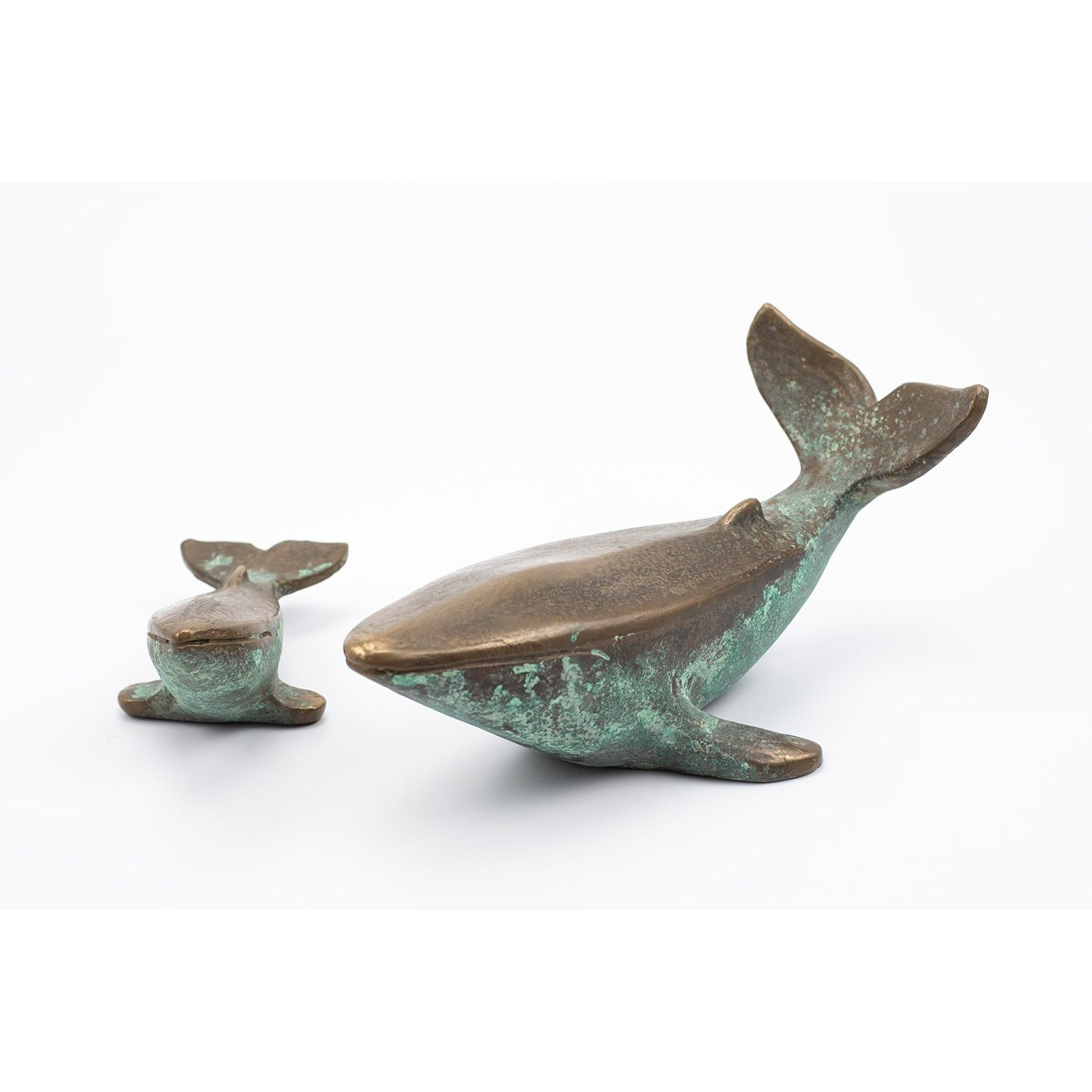 AA2 Bronze 'Mother and Baby' Whale, limited edition sculpture by Andrew Allanson, available at Padstow Gallery, Cornwall