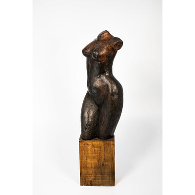 Li, Glazed terracotta standing figure on a block, by Sophie Howard, available from Padstow Gallery, Cornwall