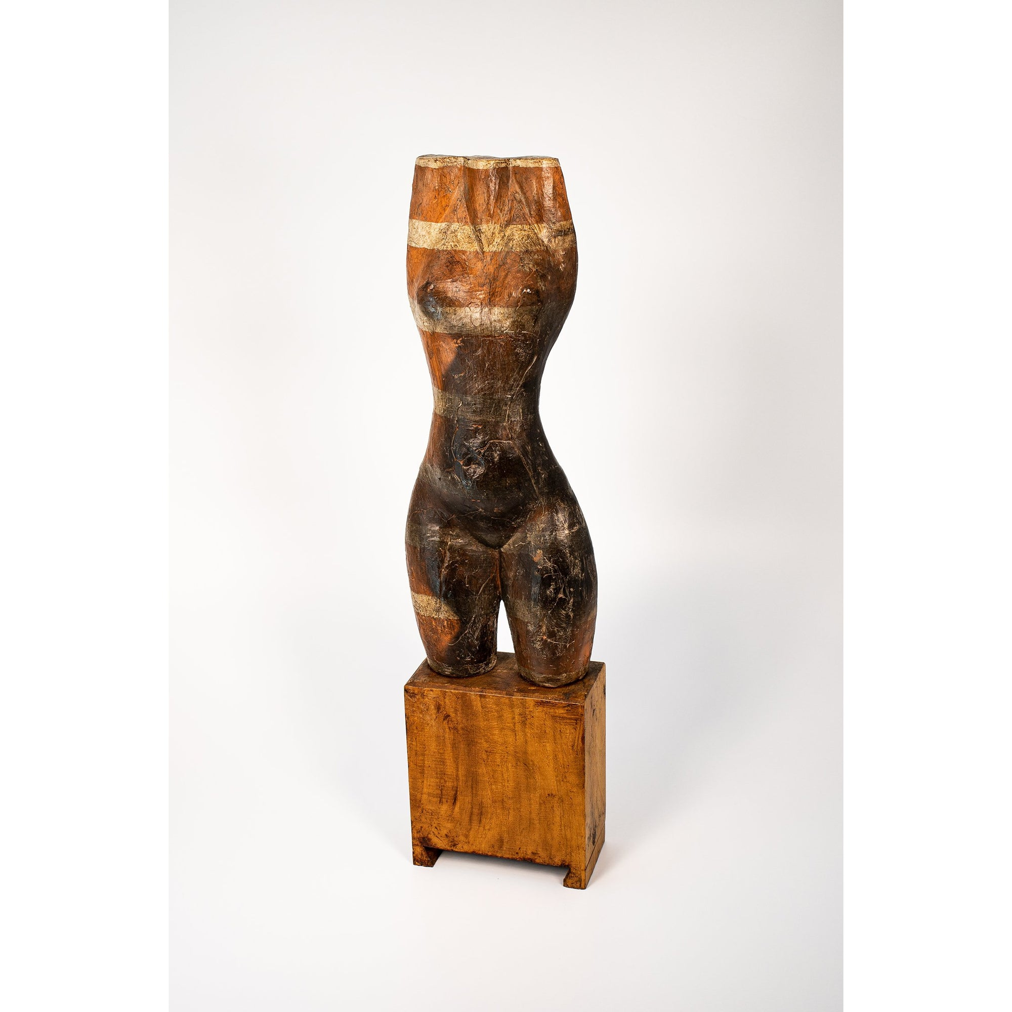 Long, Glazed terracotta standing figure on a block, by Sophie Howard, available from Padstow Gallery, Cornwall