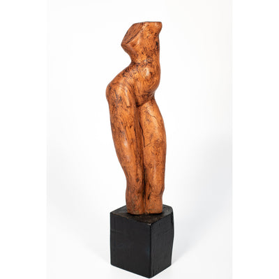 Sa (I), Glazed terracotta standing figure on a plinth, by Sophie Howard, available from Padstow Gallery, Cornwall