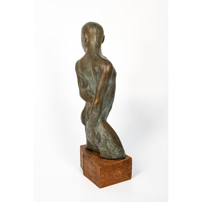 DTH, Don't Touch Him, Bronze resin on timber plinth, by Sophie Howard, available from Padstow Gallery, Cornwall