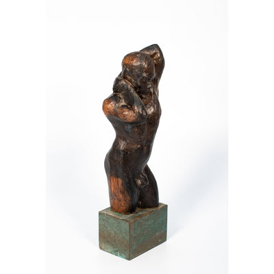 NU(II), Don't Touch Him, Glazed terracotta standing figure on bronze resin coated plinth, by Sophie Howard, available from Padstow Gallery, Cornwall