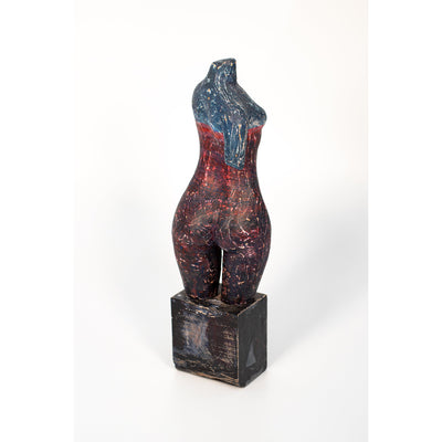 Z, Glazed terracotta figure on timber plinth, by Sophie Howard, available from Padstow Gallery, Cornwall