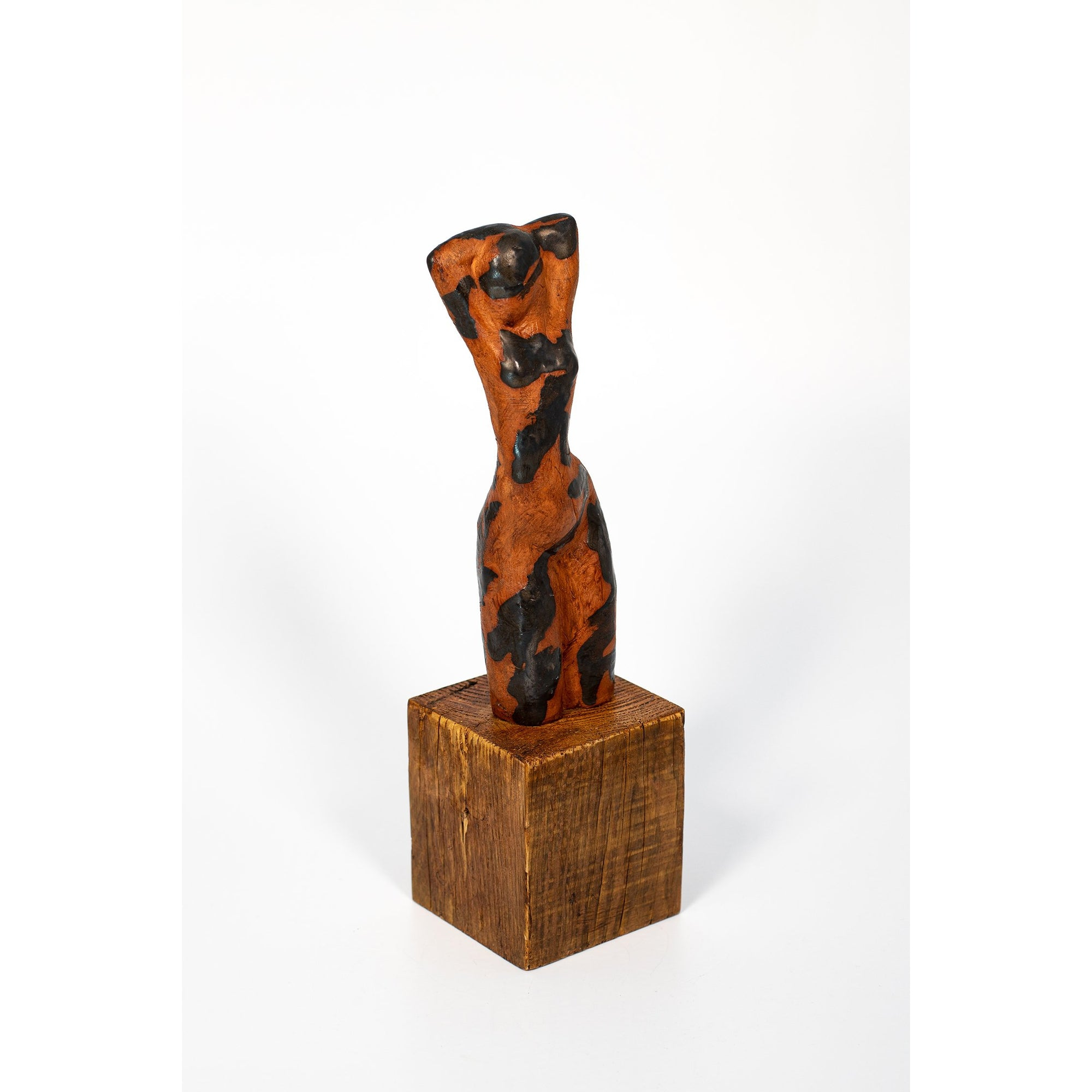Lala (III), Glazed terracotta figure on plinth, by Sophie Howard, available from Padstow Gallery, Cornwall