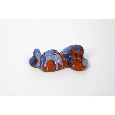 Fem II, Blue glazed ceramic figure, by Sophie Howard, available from Padstow Gallery, Cornwall