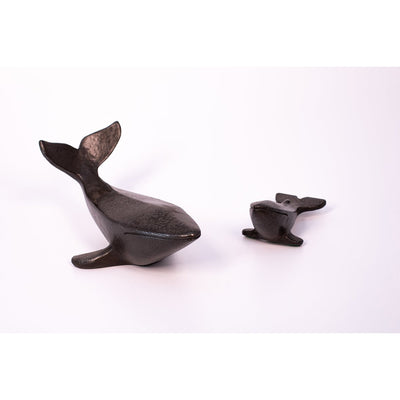 AA11 Black Iron 'Mother and Baby' Whales, a limited edition sculpture set by Andrew Allanson, available at Padstow Gallery, Cornwall