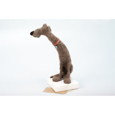 'Elgar' needlefelt dog character created by Kate Toms, available at Padstow Gallery, Cornwall