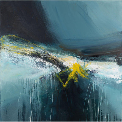 'Dive' mixed media original by Justine Lois Thorpe, available at Padstow Gallery, Cornwall