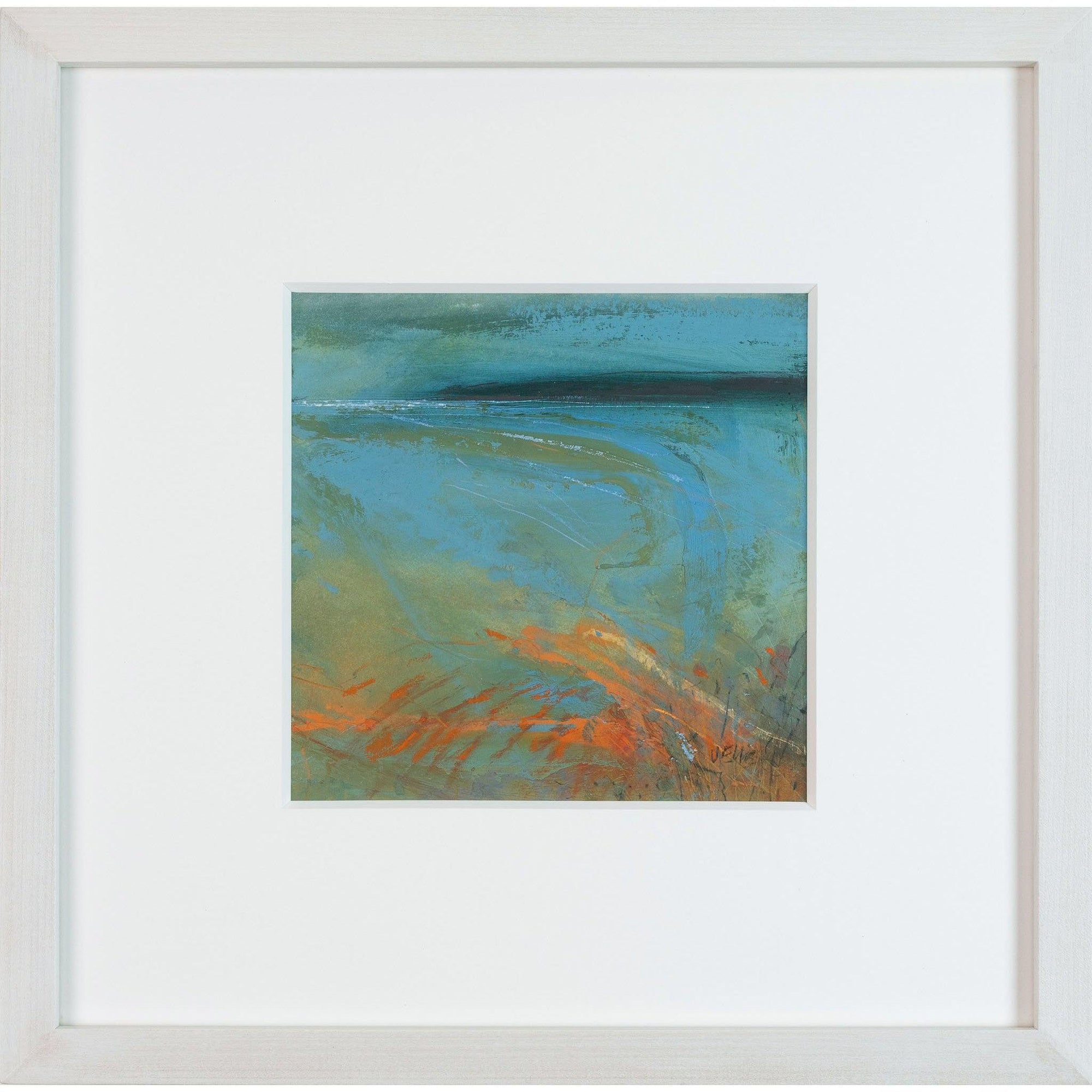 'Melting Sand Ripples' mixed media framed original by Jo Ellis fine art, available at Padstow Gallery, Cornwall