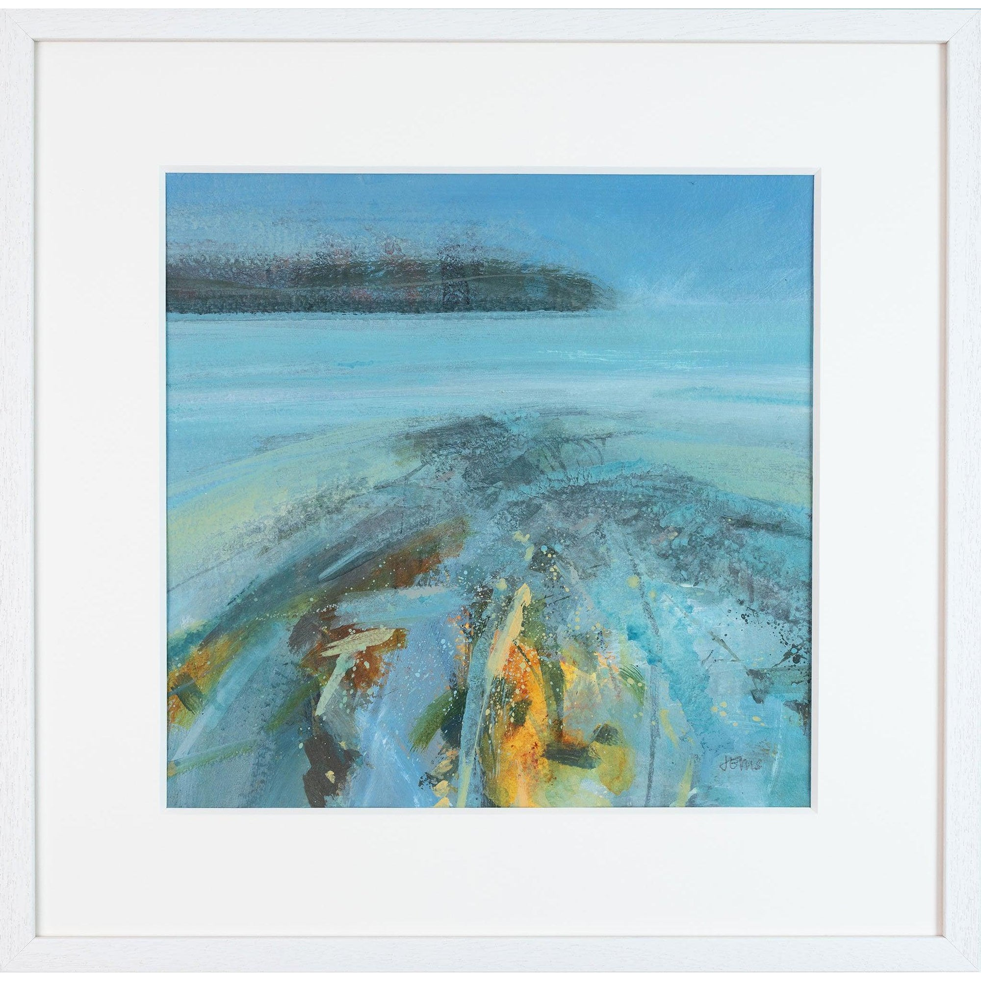 'Slow Shifting Submerge' mixed media framed original by Jo Ellis fine art, available at Padstow Gallery, Cornwall
