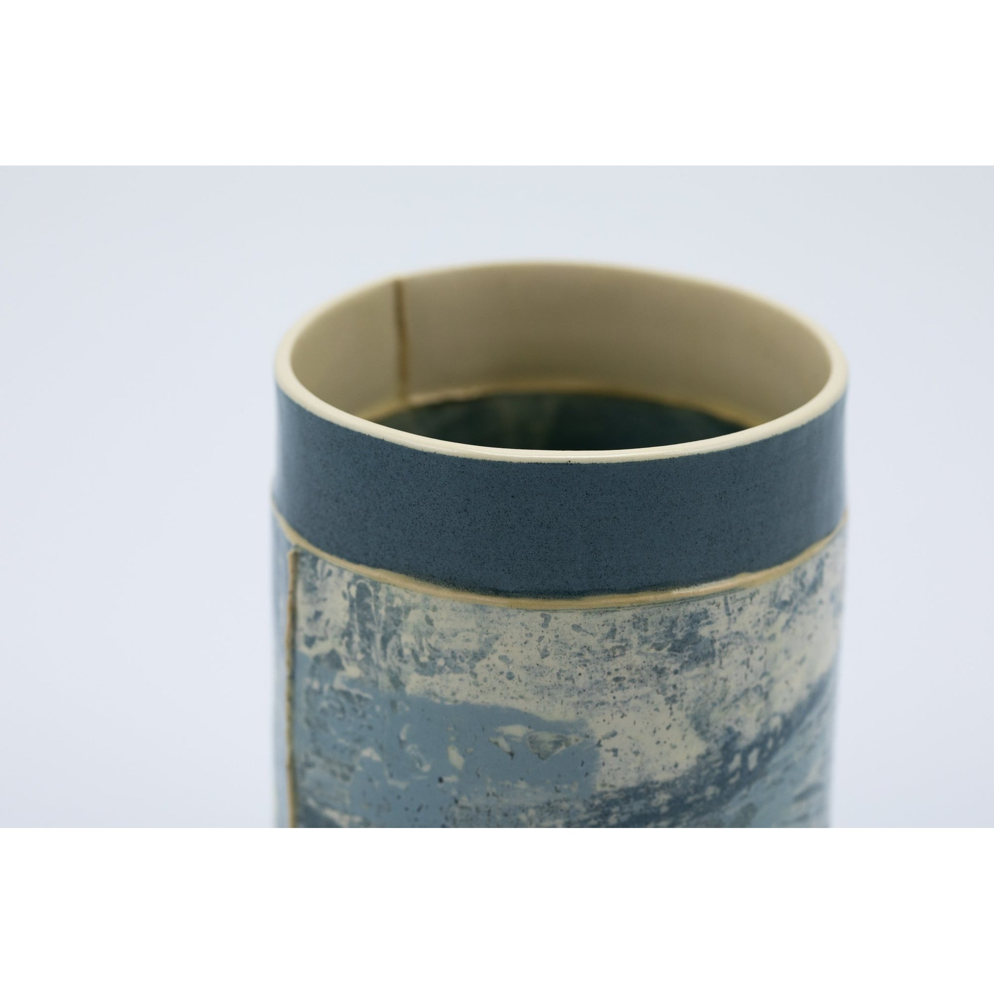 Small Vessel (SV89) | Navy and Yellow | handbuilt ceramic created by Emily-Kriste Wilcox, available from Padstow Gallery, Cornwall