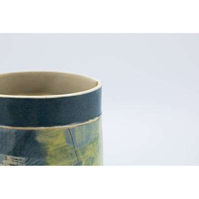 Mid Vessel (MV33) | Navy and Yellow | handbuilt ceramic created by Emily-Kriste Wilcox, available from Padstow Gallery, Cornwall