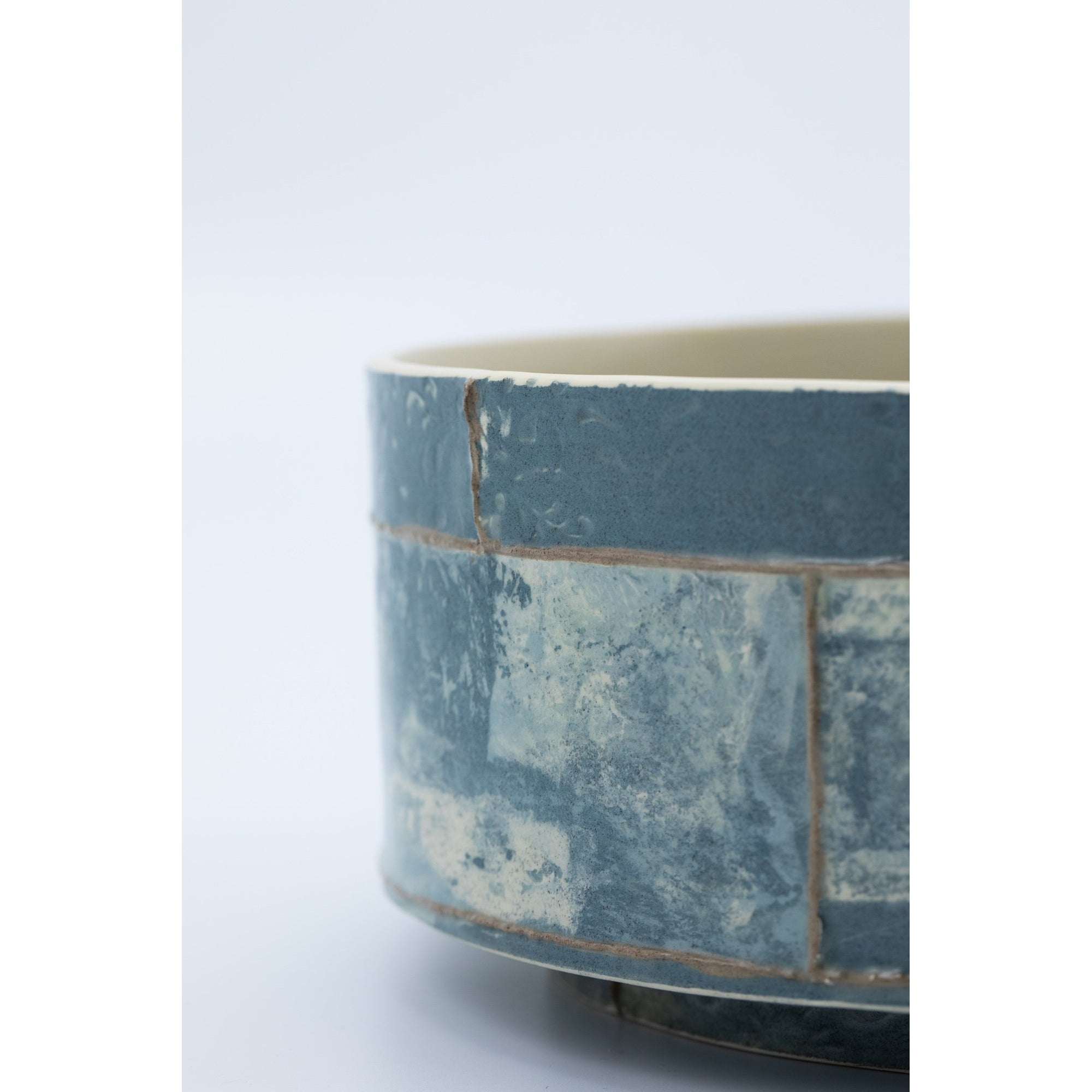 Short Round Vessel | Navy Print | handbuilt ceramic created by Emily-Kriste Wilcox, available from Padstow Gallery, Cornwall