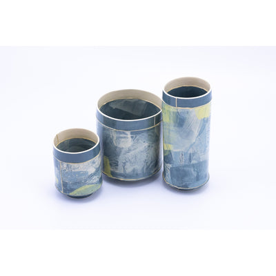 Handbuilt ceramic vessel group by Emily-Kriste Wilcox, available from Padstow Gallery, Cornwall