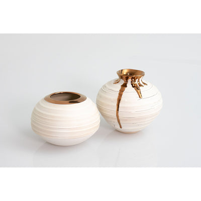 Crackle Vessels with Copper Lustre, wheel thrown ceramic vessels by Alex McCarthy, available at Padstow Gallery, Cornwall