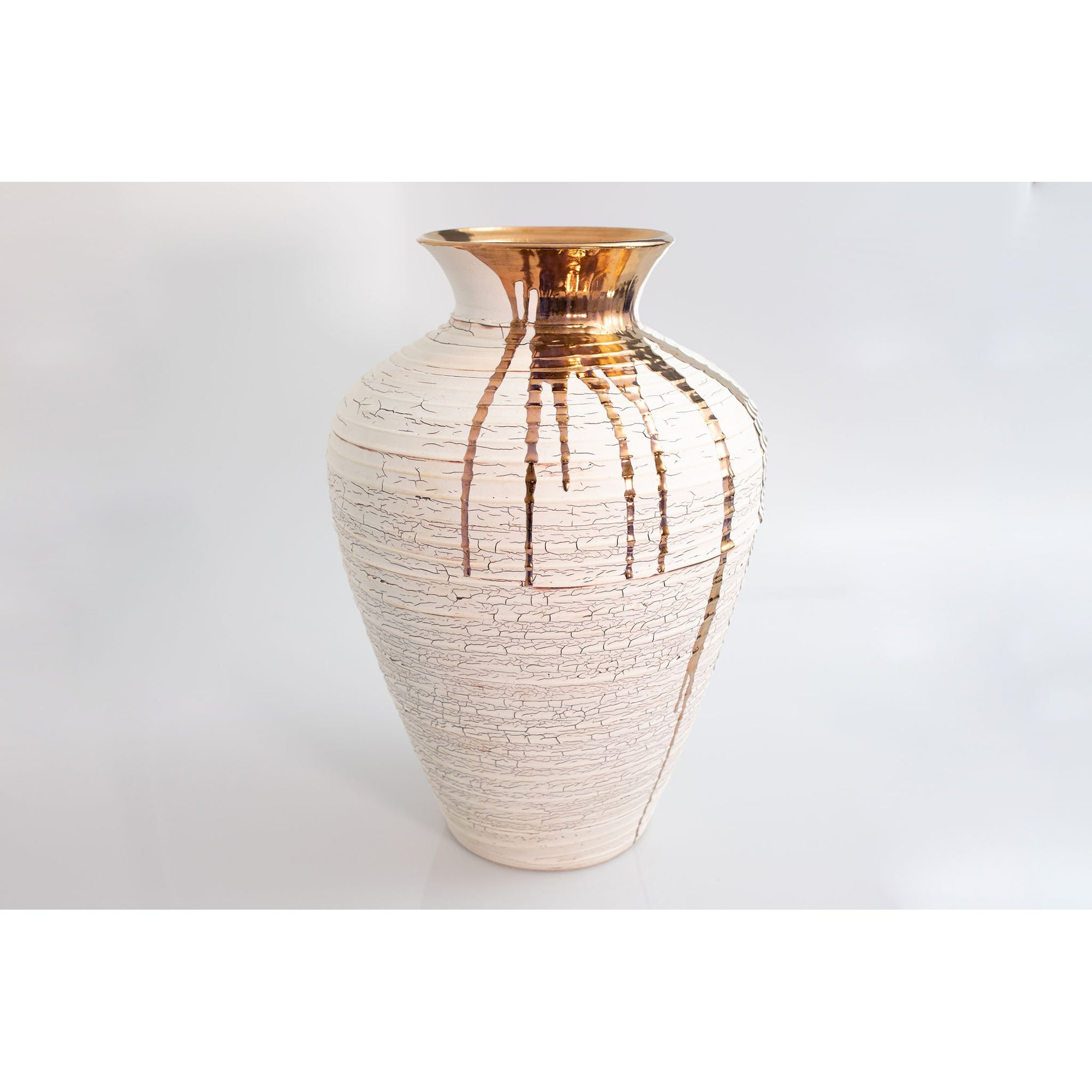 AMC95 Large Crackle Vase with Copper Lustre