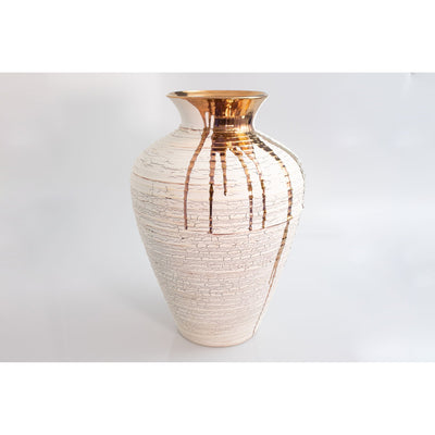 Crackle Vase with Copper Lustre, wheel thrown ceramic vase by Alex McCarthy, available at Padstow Gallery, Cornwall