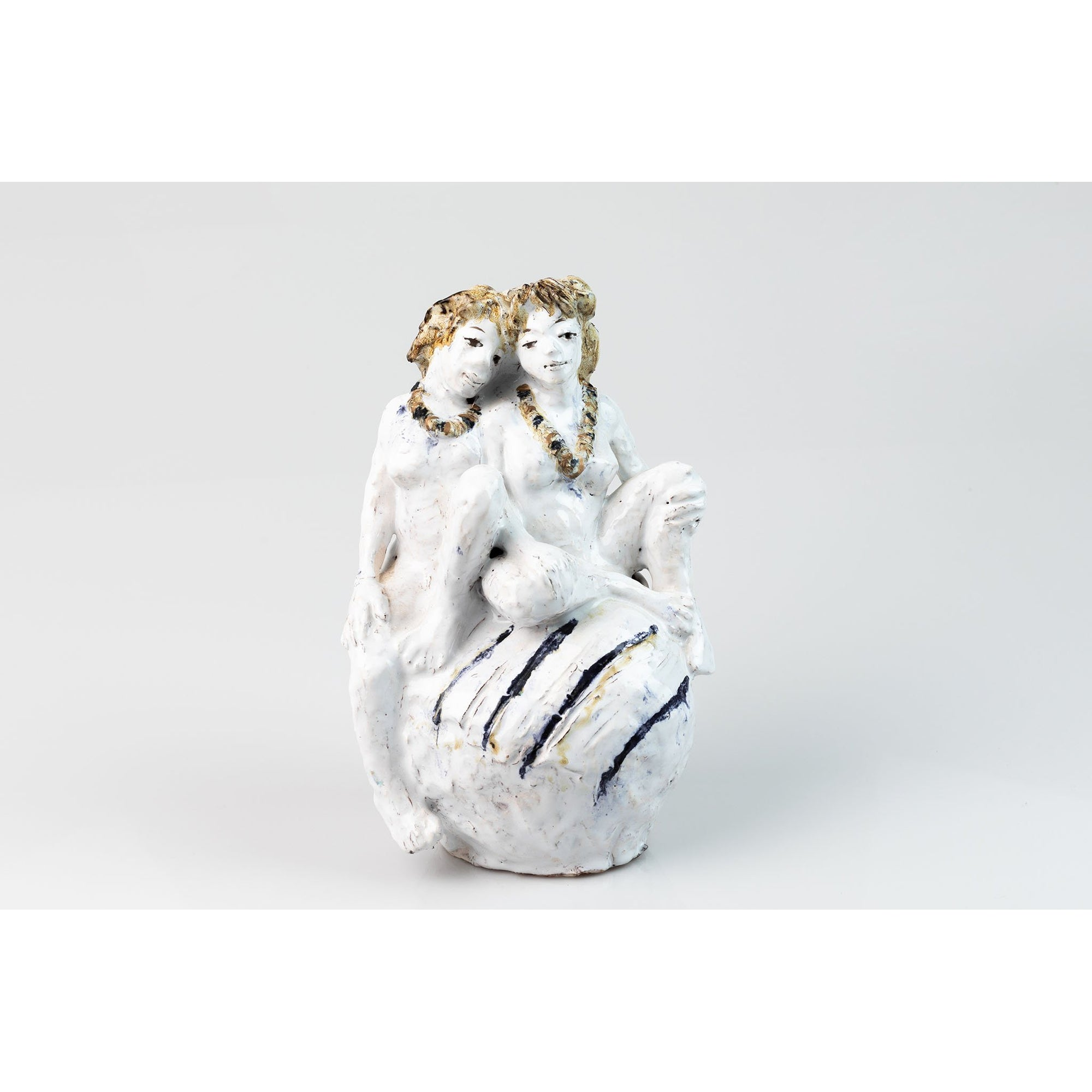 'Picnic' glazed terracotta sculpture by Sophie Howard, available at Padstow Gallery, Cornwall