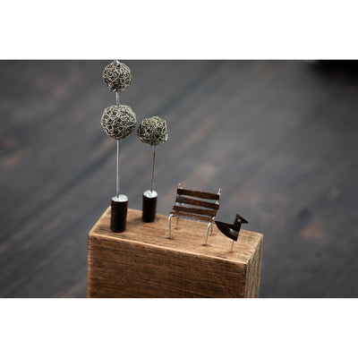 Mini Topiary and Bench by Sarah Jane Brown available at Padstow Gallery, Cornwall