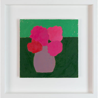 'Hot Pink Geranium in Handmade Pot', acrylic painting by Sophie Harding. Available from Padstow Gallery, Cornwall