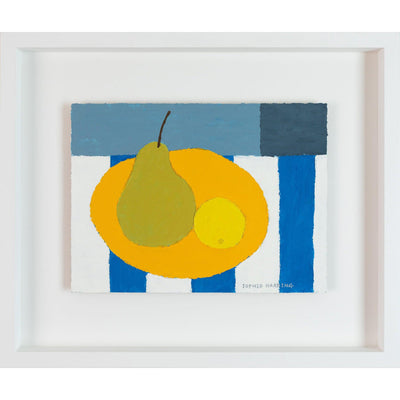 'Pear and Lemon on Blue Stripes', acrylic painting by Sophie Harding. Available from Padstow Gallery, Cornwall