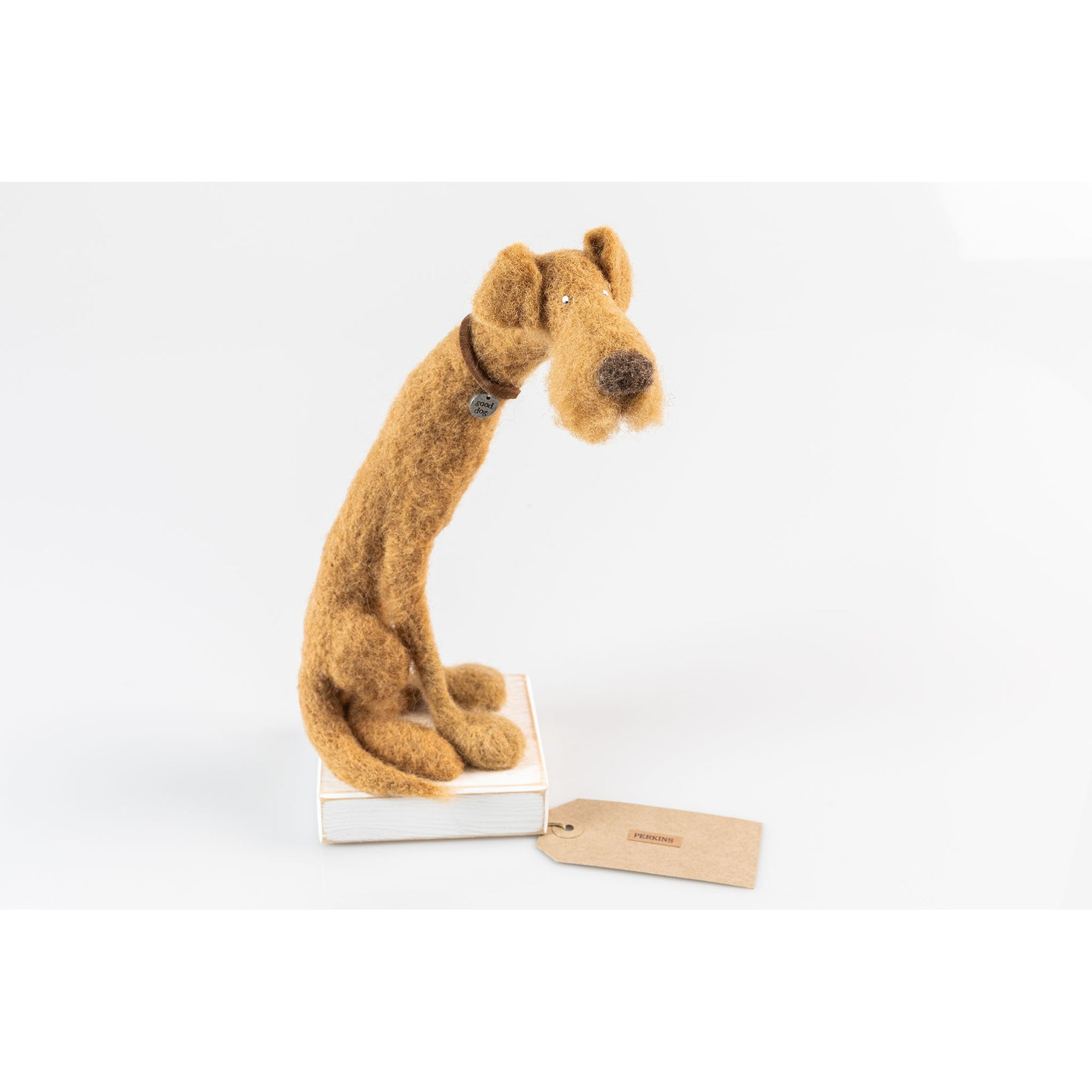'Perkins' needlefelt dog character created by Kate Toms, available at Padstow Gallery, Cornwall