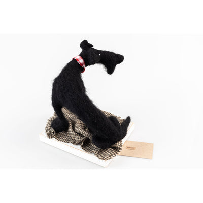 'Angus' needlefelt dog character created by Kate Toms, available at Padstow Gallery, Cornwall