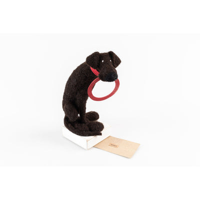 'Binky' needlefelt dog character created by Kate Toms, available at Padstow Gallery, Cornwall