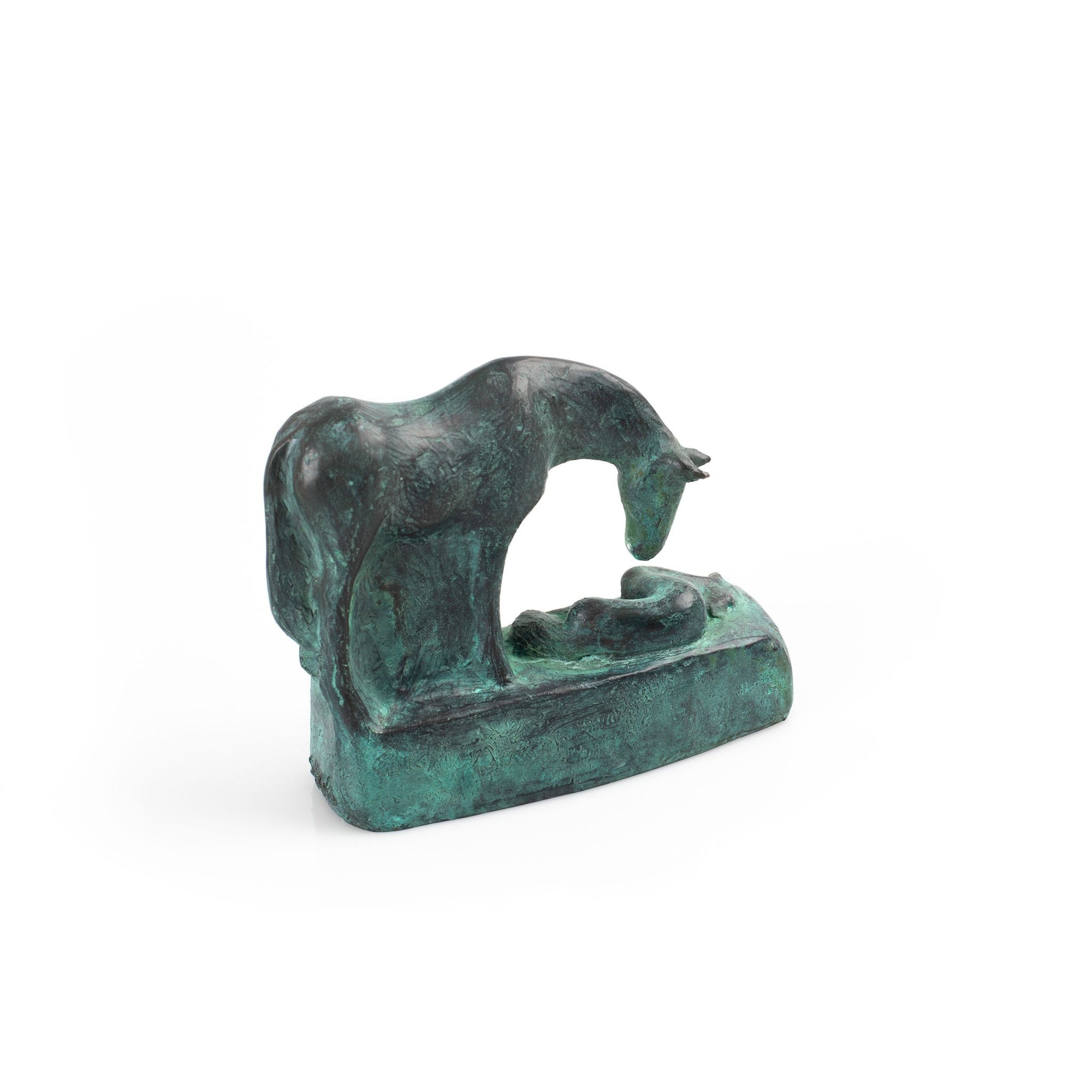 Lying open edition bronze resin sculpture by Sophie Howard, available at Padstow Gallery, Cornwall
