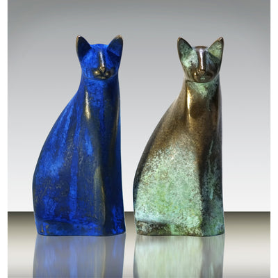 Antique and Blue 'Savannah' cats limited edition sculpture by Andrew Allanson, available at Padstow Gallery, Cornwall
