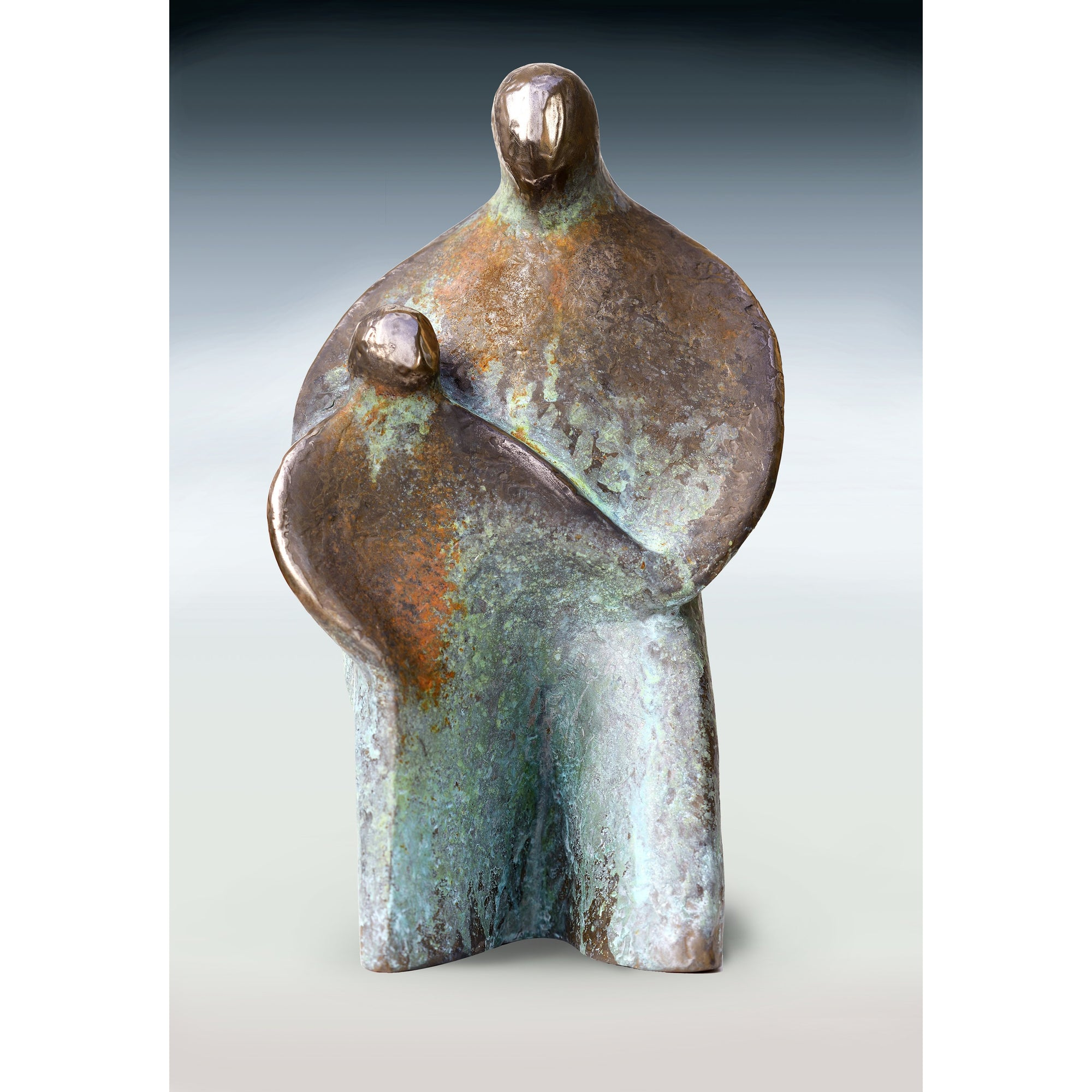 AA12 Bronze 'Father and Son' limited edition sculpture by Andrew Allanson, available at Padstow Gallery, Cornwall