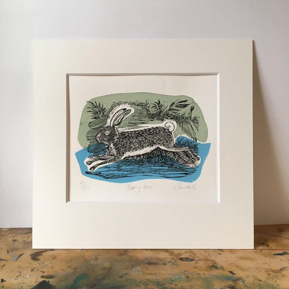 'Hopping Hare' linocut by Sam Marshall, available at Padstow Gallery, Cornwall