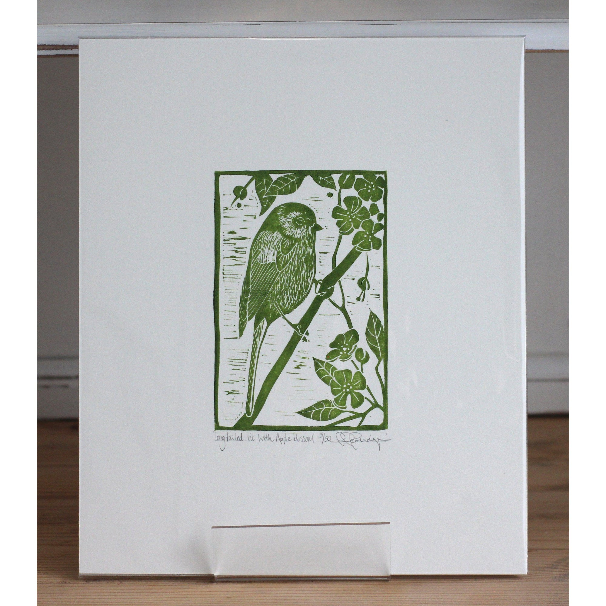'Longtailed Tit with Apple Blossom' by printmaker, Rhys Partridge, available at Padstow Gallery, Cornwall