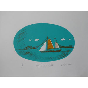 New Shores Await (night) limited edition screenprint by Liz Toole available at Padstow Gallery, Cornwall