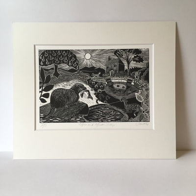 'Otter and African Sheep' linocut by Sam Marshall, available at Padstow Gallery, Cornwall