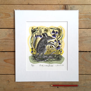 'Ratty and the Bluebells' linocut and screenprint by Sam Marshall, available from Padstow Gallery, Cornwall