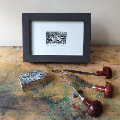 'Spaniel' wood engraving by Sam Marshall available at Padstow Gallery, Cornwall
