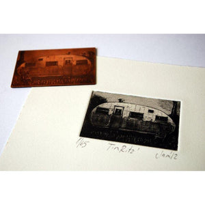 'Tin Titz' copper plate etching by Sam Marshall, available at Padstow Gallery, Cornwall