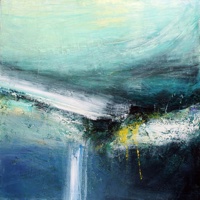 'Quiet Shore' mixed media original by Justine Lois Thorpe, available at Padstow Gallery, Cornwall