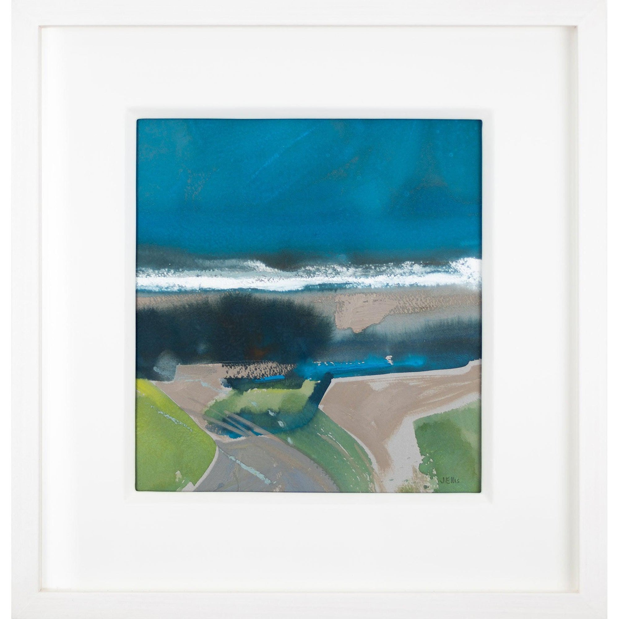 'Distant Surf II' mixed media framed original by Jo Ellis fine art, available at Padstow Gallery, Cornwall