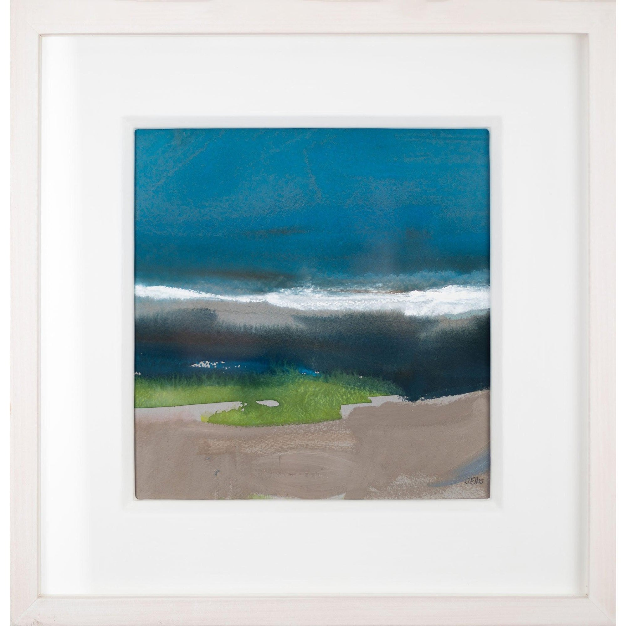 'Distant Surf I' mixed media framed original by Jo Ellis fine art, available at Padstow Gallery, Cornwall