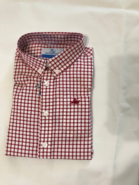Southbound Button Down - Red/White Plaid