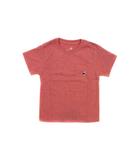 Embroidered Pocket Logo Tee- Rustic Red Heathered