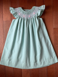 Sweet Dreams Seafoam Pink Flower Smocked Dress