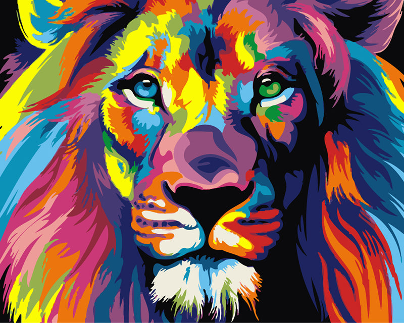 DIY Painting By Numbers - Colorful Lion (16