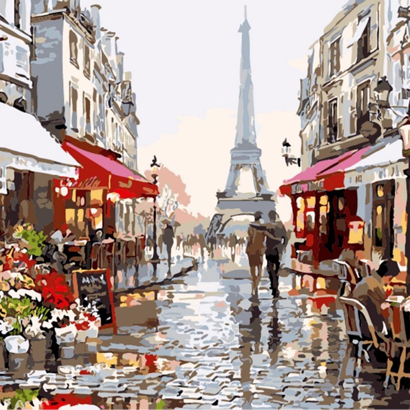 DIY Painting By Numbers - Paris Street (16