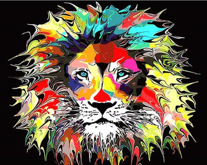 "DIY Painting By Numbers - Psychedelic Lion (16""x20"" / 40x50cm)"