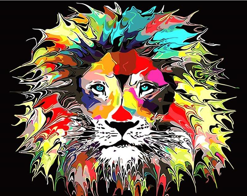 DIY Painting By Numbers - Psychedelic Lion (16