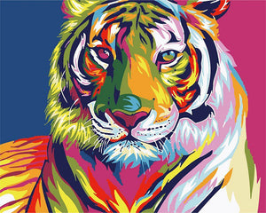 "DIY Painting By Numbers - Psychedelic Tiger (16""x20"" / 40x50cm)"
