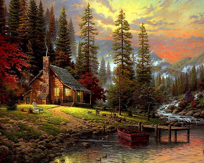 DIY Painting By Numbers - Cabin in the Woods (16